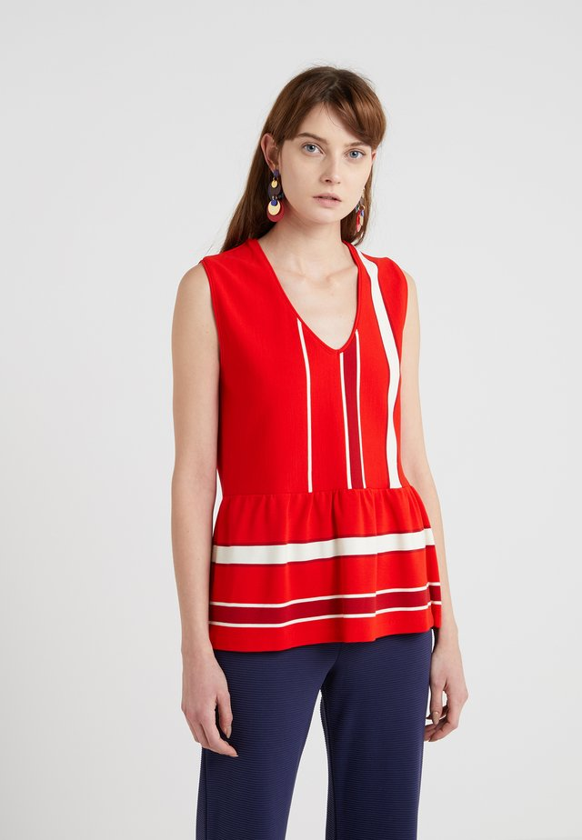 OUT - Top - fiery red/off white/pink
