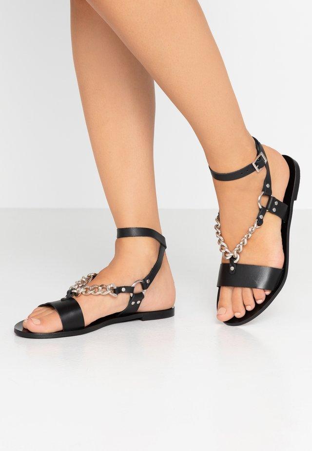 ELISEA - Sandaalit nilkkaremmillä - black