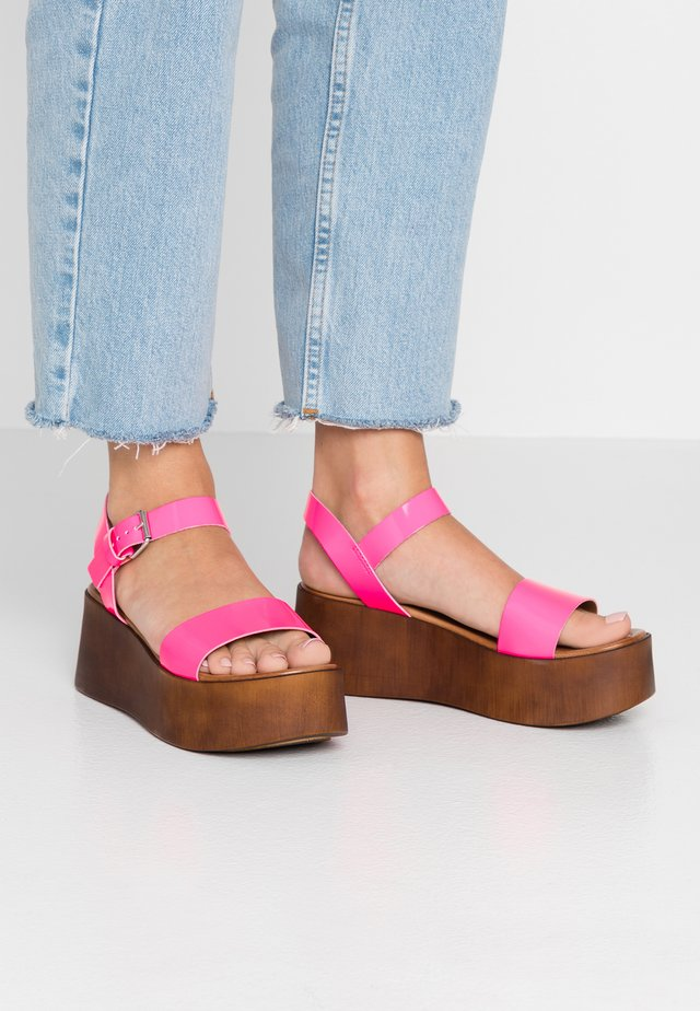 SKIPPER - Platform sandals - neon pink