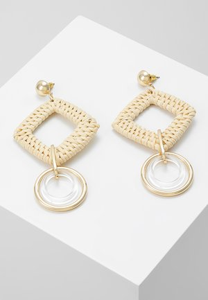 SQUARE DROP EARRING - Øredobber - beige/gold-coloured
