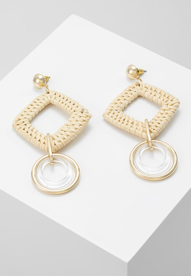 SQUARE DROP EARRING - Earrings - beige/gold-coloured