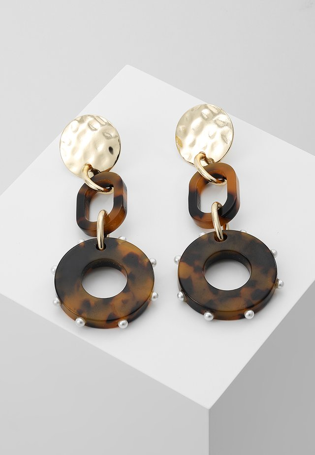 MIXED TORT DROP EARRING - Earrings - brown