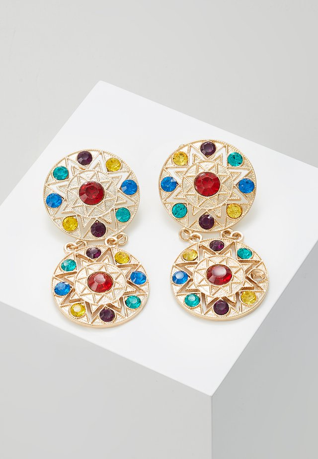 DOUBLE DISC DROP - Earrings - gold-coloured