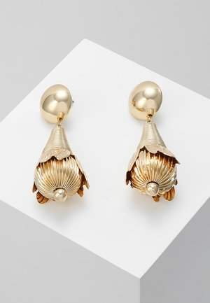 CLOSED FLOWER DROP EARRING - Øredobber - gold-coloured