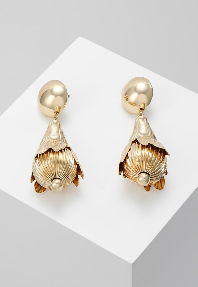 CLOSED FLOWER DROP EARRING - Earrings - gold-coloured