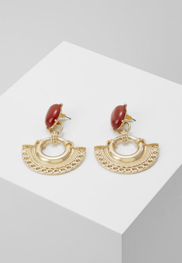 BEAD FAN DROPS - Earrings - gold-coloured