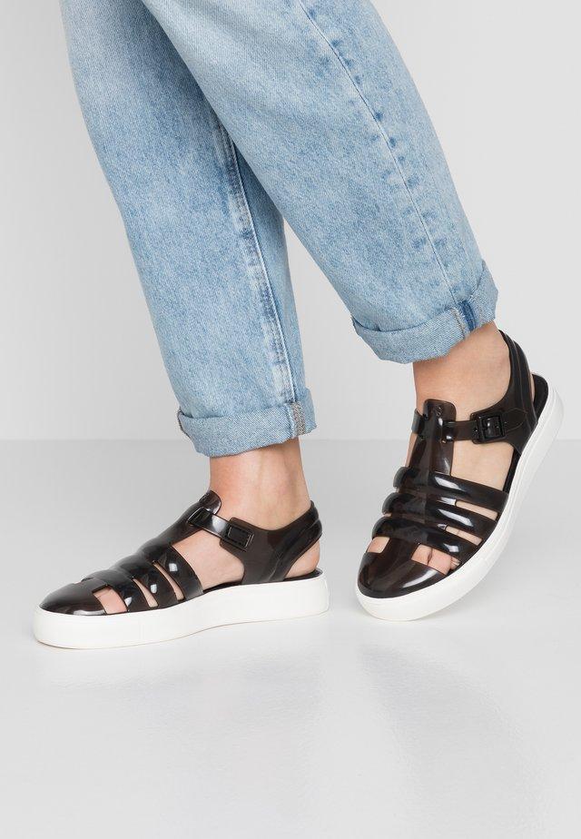 CRYSTAL - Sandals - translucid black/white