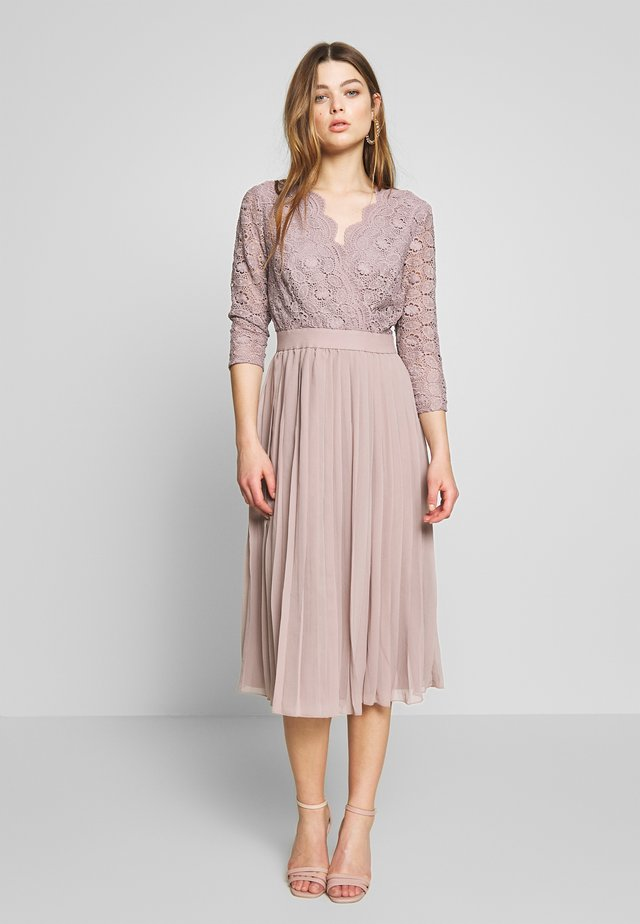 MIDI CROCHET PLEATED - Cocktail dress / Party dress - oyster