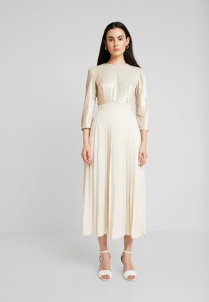 SEQUIN PLEATED HEM - Cocktailklänning - cream