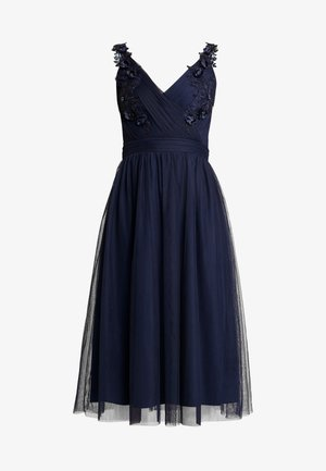 A ROSETTE MIDI PROM DRESS WITH FLORAL AND FAU - Cocktail dress / Party dress - navy