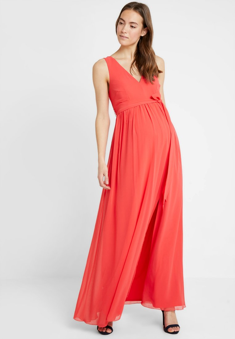 Little Mistress - EXCLUSIVE V NECK MATERNITY MAXI DRESS - Vestido de fiesta - coral