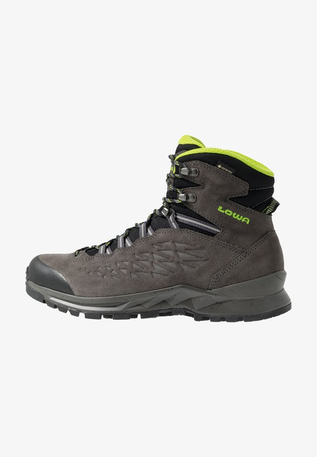LOWA EXPLORER GTX MID - Hiking shoes - anthrazit/limone