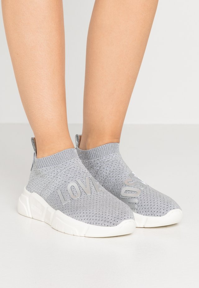 LOVE SOCKS - Höga sneakers - silver glitter