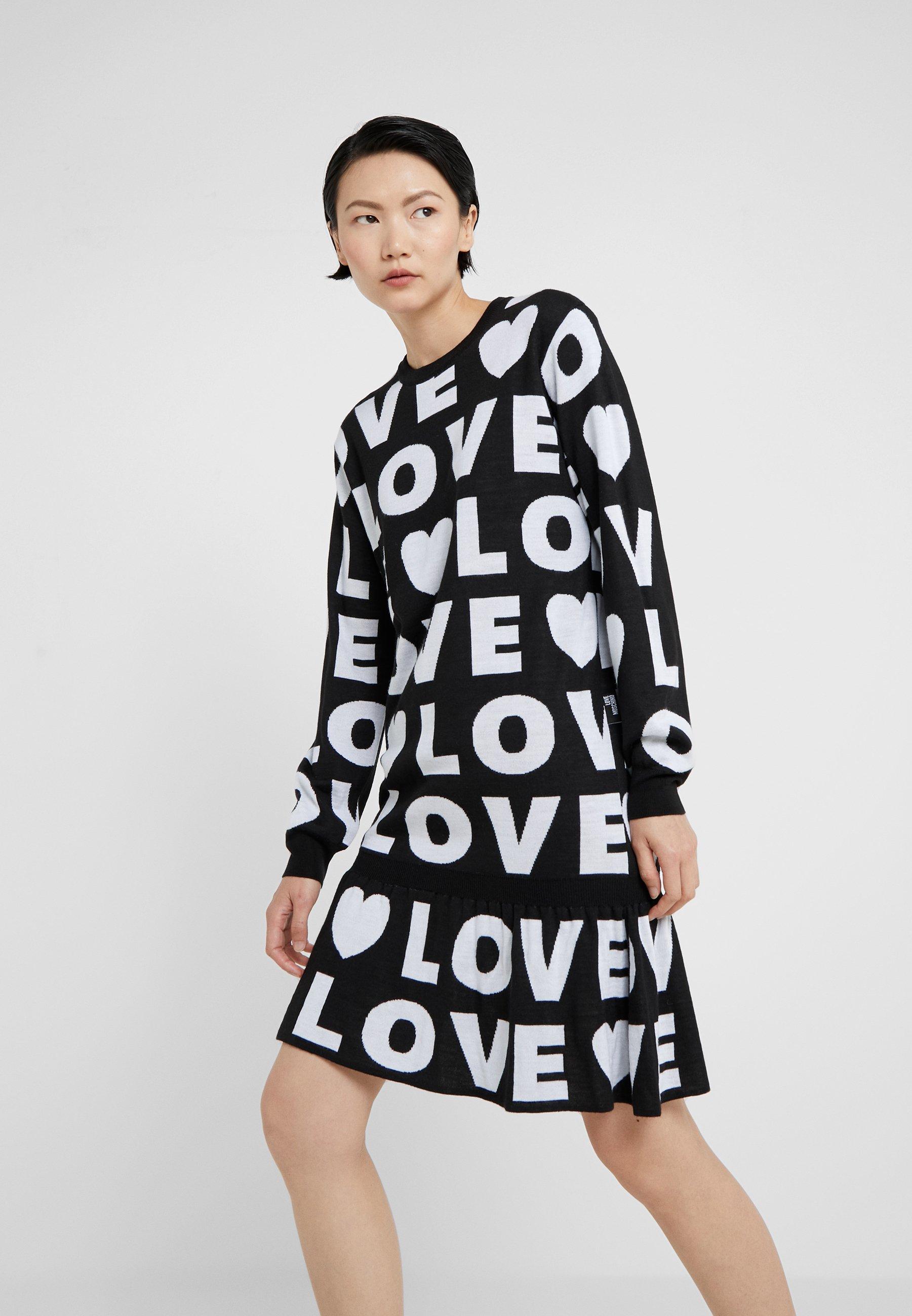 PullBlack Moschino Robe Moschino PullBlack Love Love Robe vm80OnNw