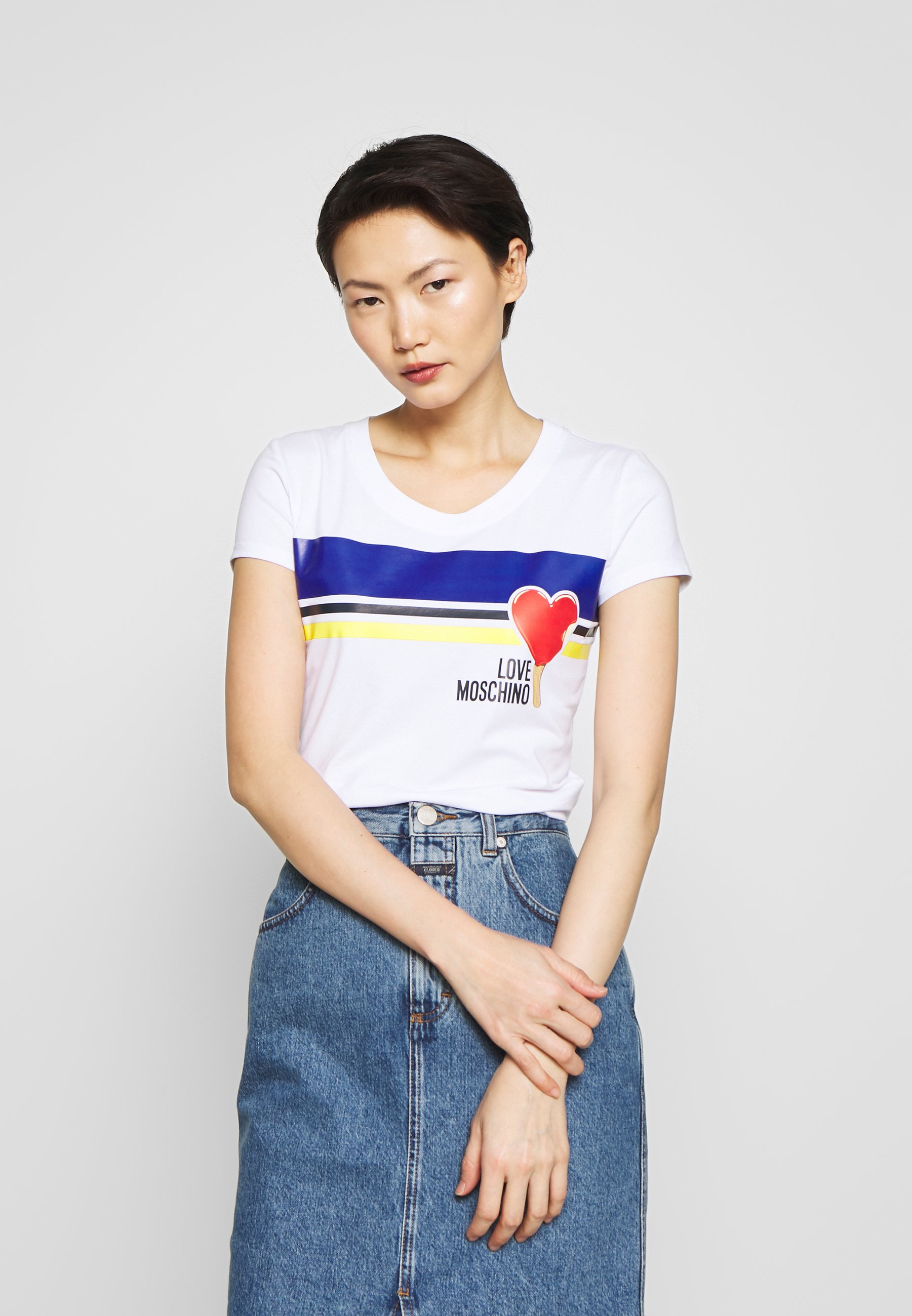 Love Moschino T-shirts med print - optical white