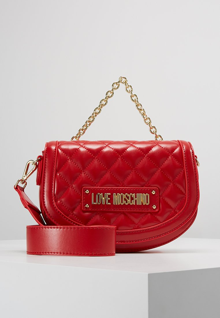 Love Moschino - QUILTED SOFT SADDLE BAG - Across body bag - rosso