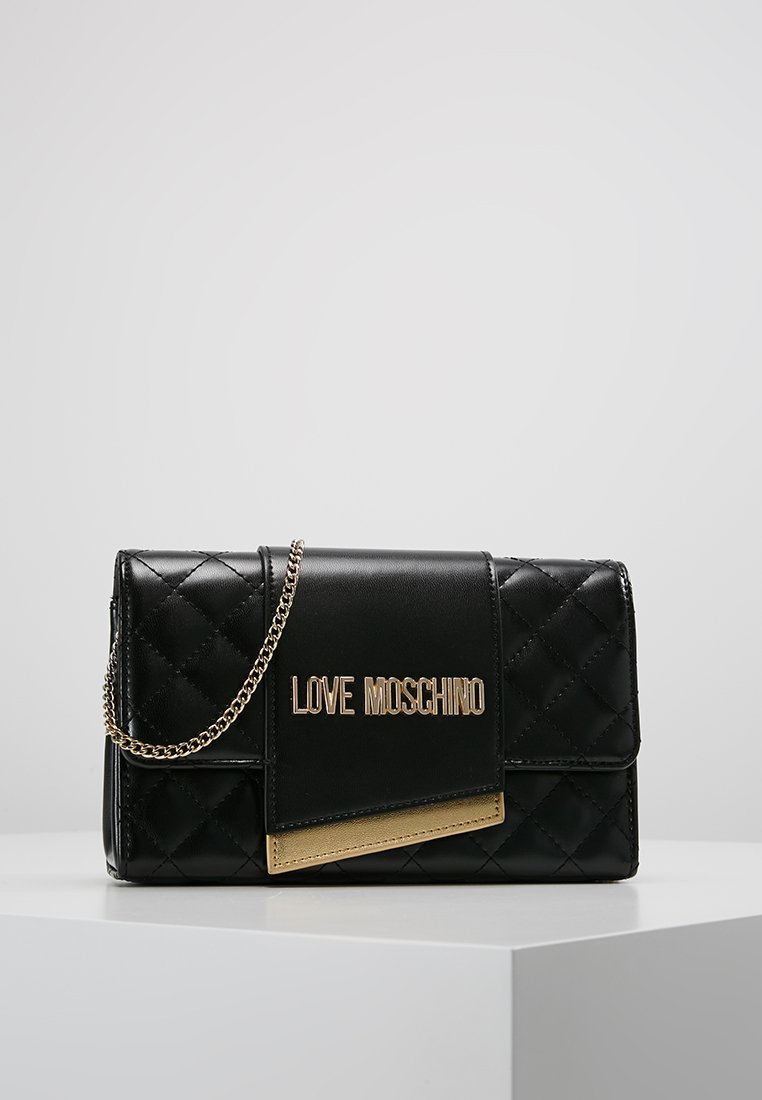 Love Moschino - QUILTED FLAP CROSSBODY - Axelremsväska - black