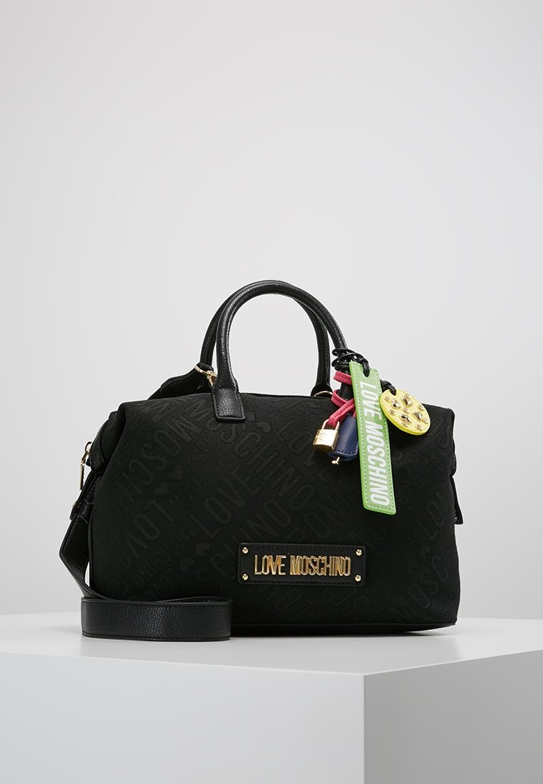 Love Moschino - ALLOVER LOGO BAG - Handtasche - black jacquard