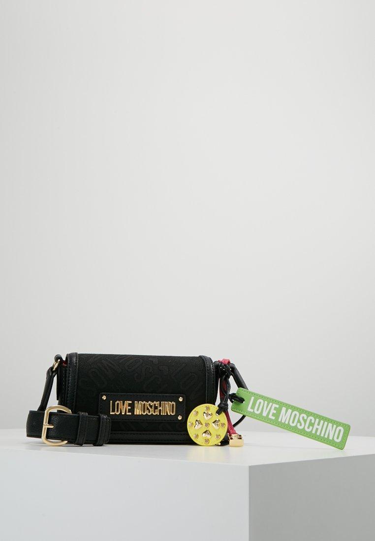 Love Moschino - ALLOVER LOGO BUMBAG - Across body bag - black