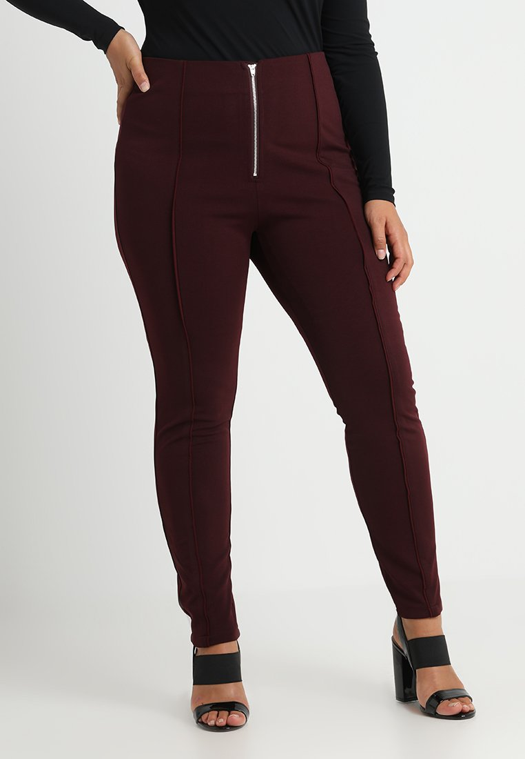 Lost Ink Plus - SKINNY TROUSER WITH SEAM - Pantalones - oxblood