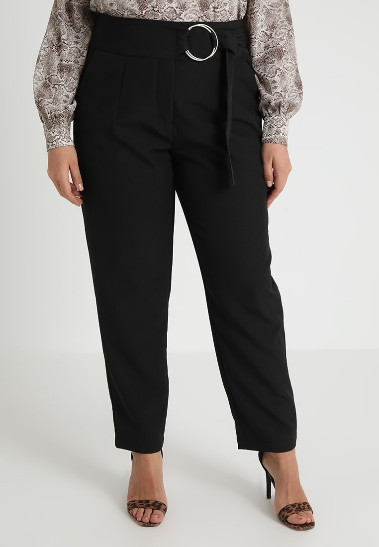 Lost Ink Plus - PEG TROUSER WITH RING WAIST - Trousers - black
