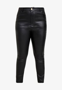 Lost Ink Plus - COATED SKINNY TROUSER - Pantalones - black - 3
