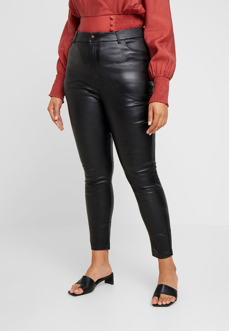 Lost Ink Plus - COATED SKINNY TROUSER - Trousers - black