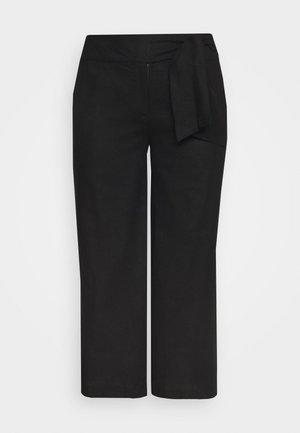 TIE WAIST WIDE LEG TROUSER - Trousers - black