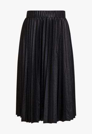 PLEATED SKIRT IN COATED - Jupe trapèze - black