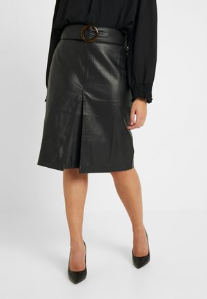 EXCLUSIVE BUCKLE BELTED MIDI SKIRT - Jupe trapèze - black