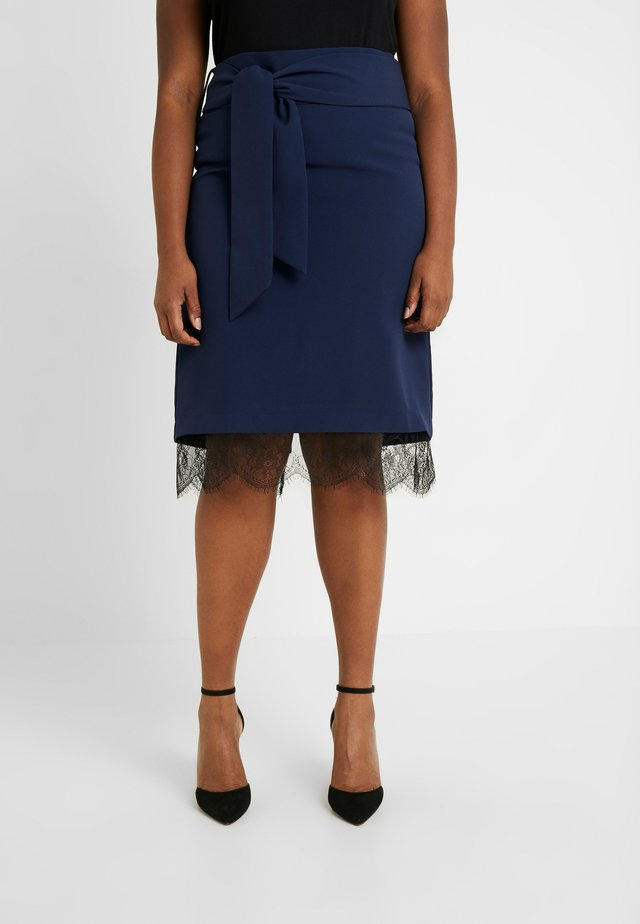HEM TIE WAIST MIDI SKIRT - Gonna a tubino - navy