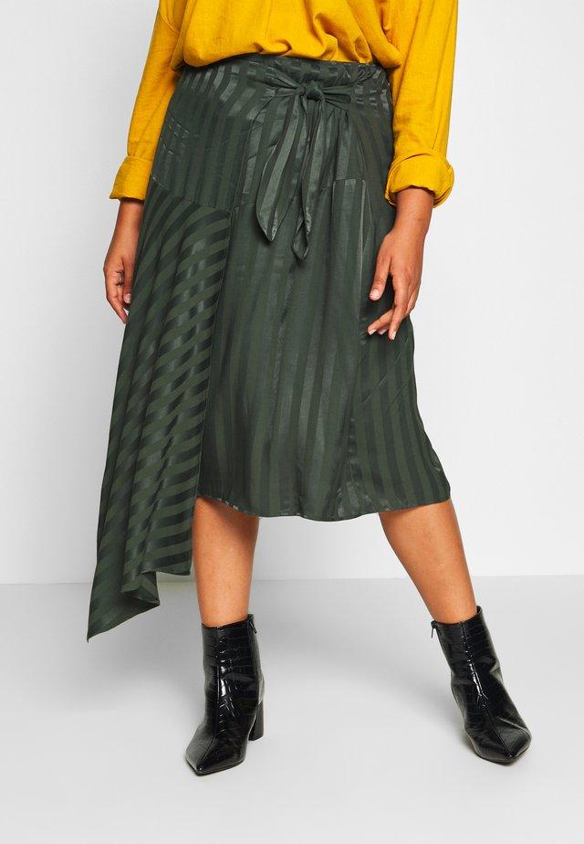 WRAP ASYM HEM STRIPE SKIRT - Wrap skirt - green