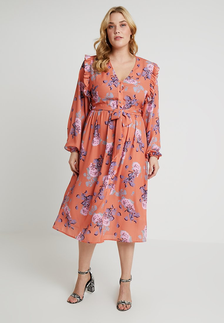 Lost Ink Plus - MIDI DRESS IN FLORAL PRINT - Vestido largo - multi