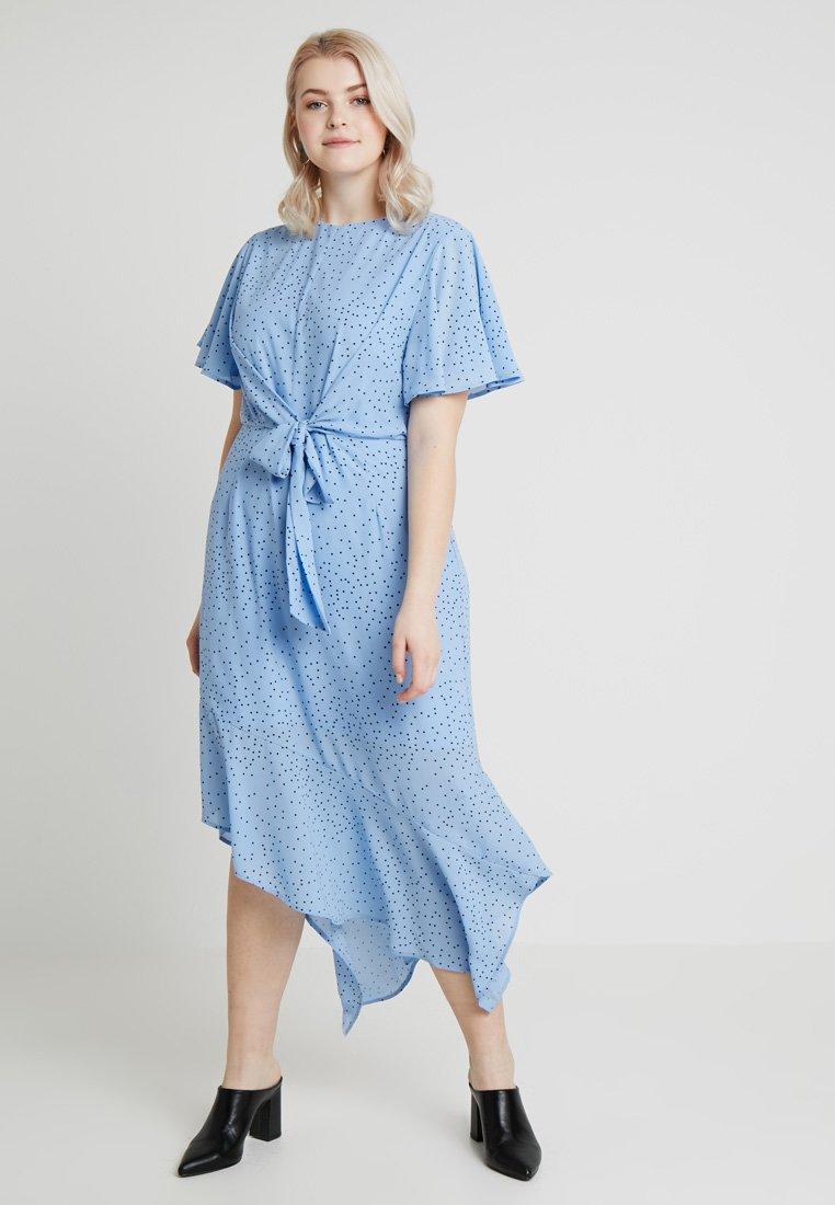 Lost Ink Plus - TIE FRONT DRESS IN SPOT - Denní šaty - multi