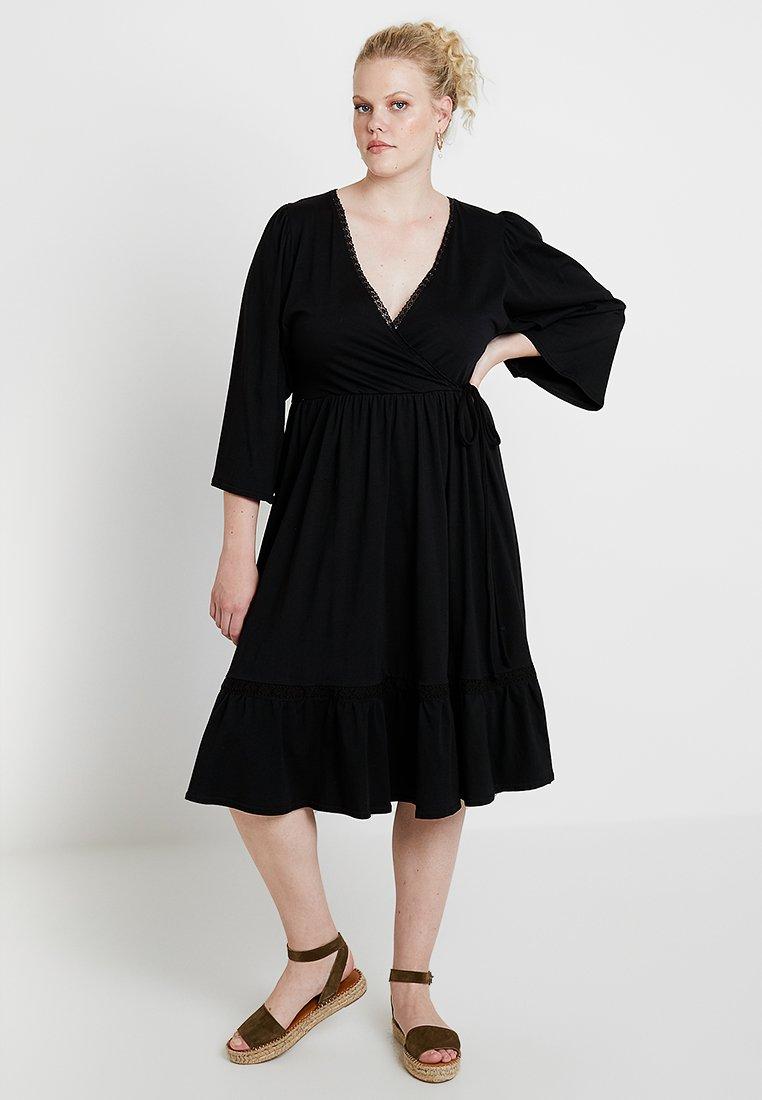 Lost Ink Plus - WRAP DRESS WITH TRIM - Day dress - black