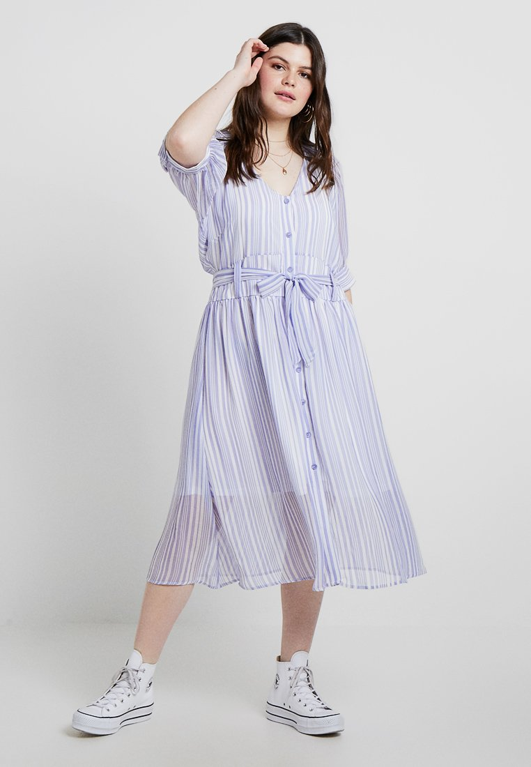 Lost Ink Plus - STRIPE DRESS WITH BUTTONS - Shirt dress - blue/white