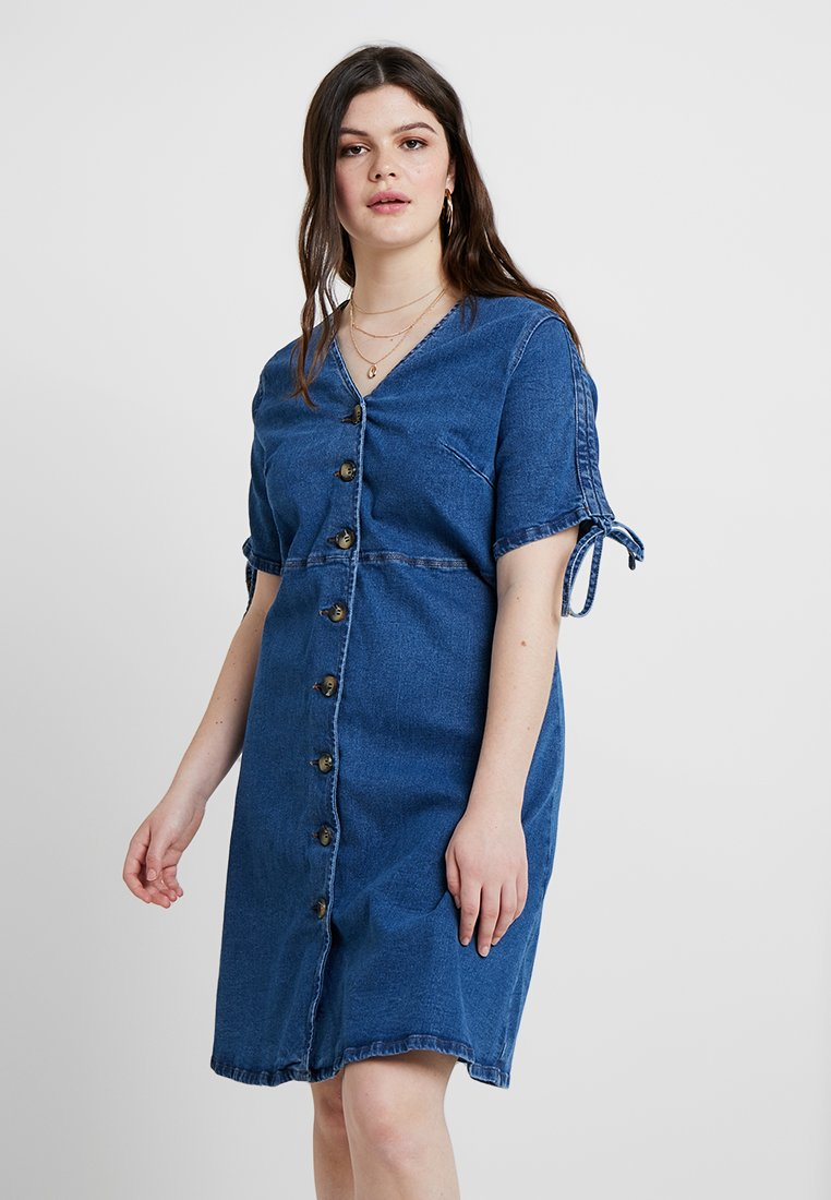 Lost Ink Plus - DRESS WITH BUTTON FRONT - Vestido vaquero - blue denim