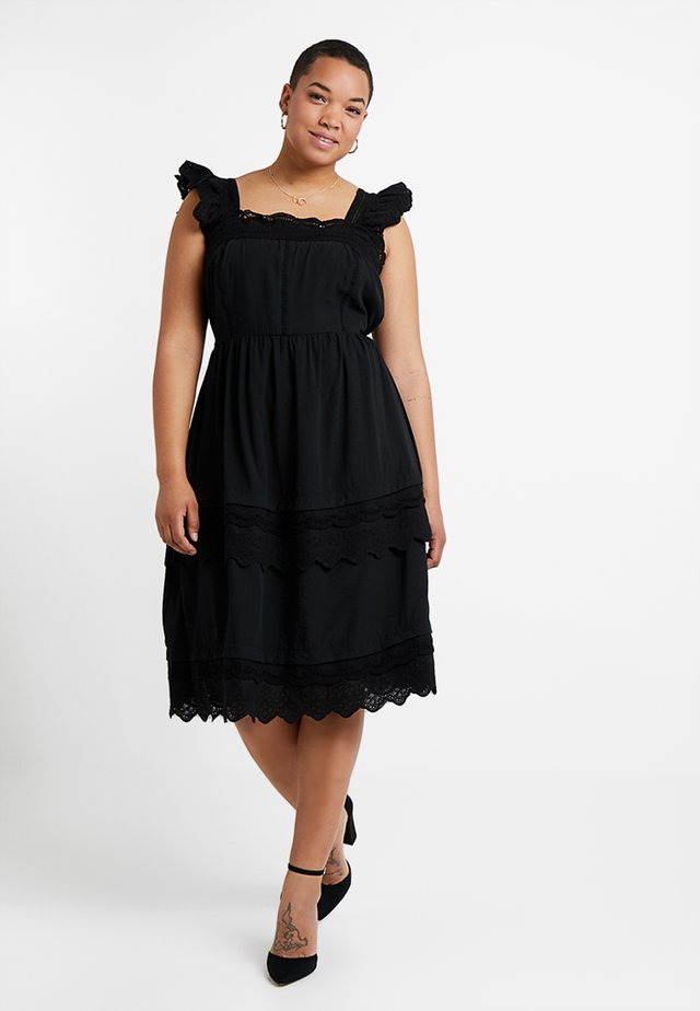 DRESS WITH TRIM - Korte jurk - black
