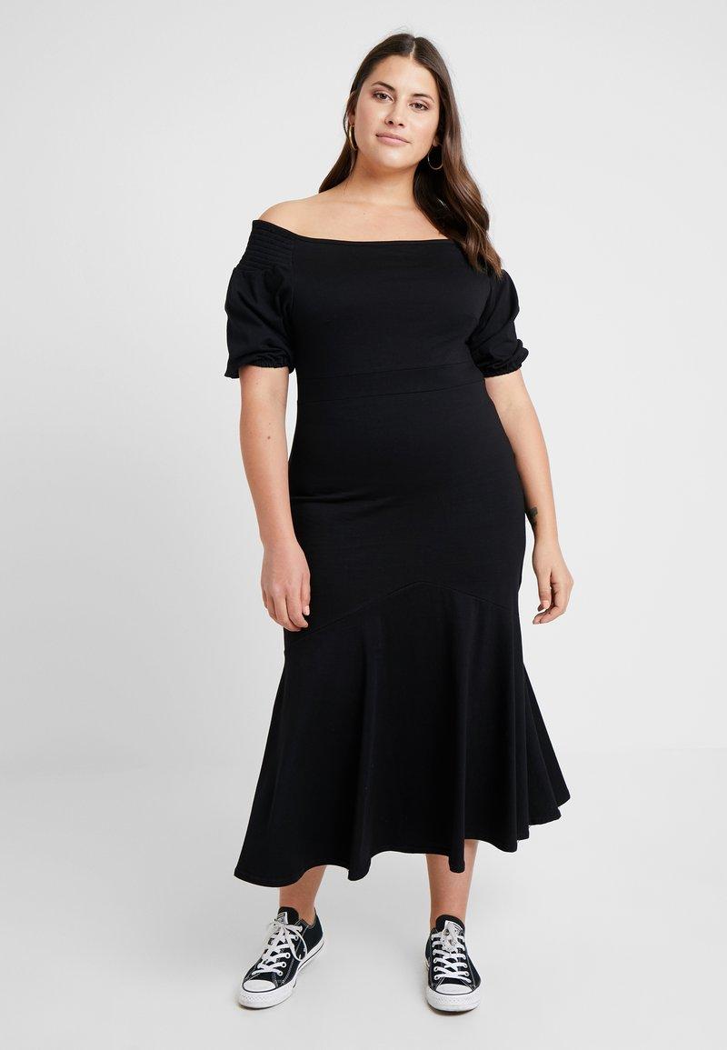 Lost Ink Plus - BARDOT DRESS WITH FLARED SKIRT - Vestido largo - black