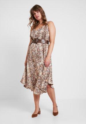 CAMI DRESS WITH BELT IN SNAKE PRINT - Maxikjoler - offwhite/sand