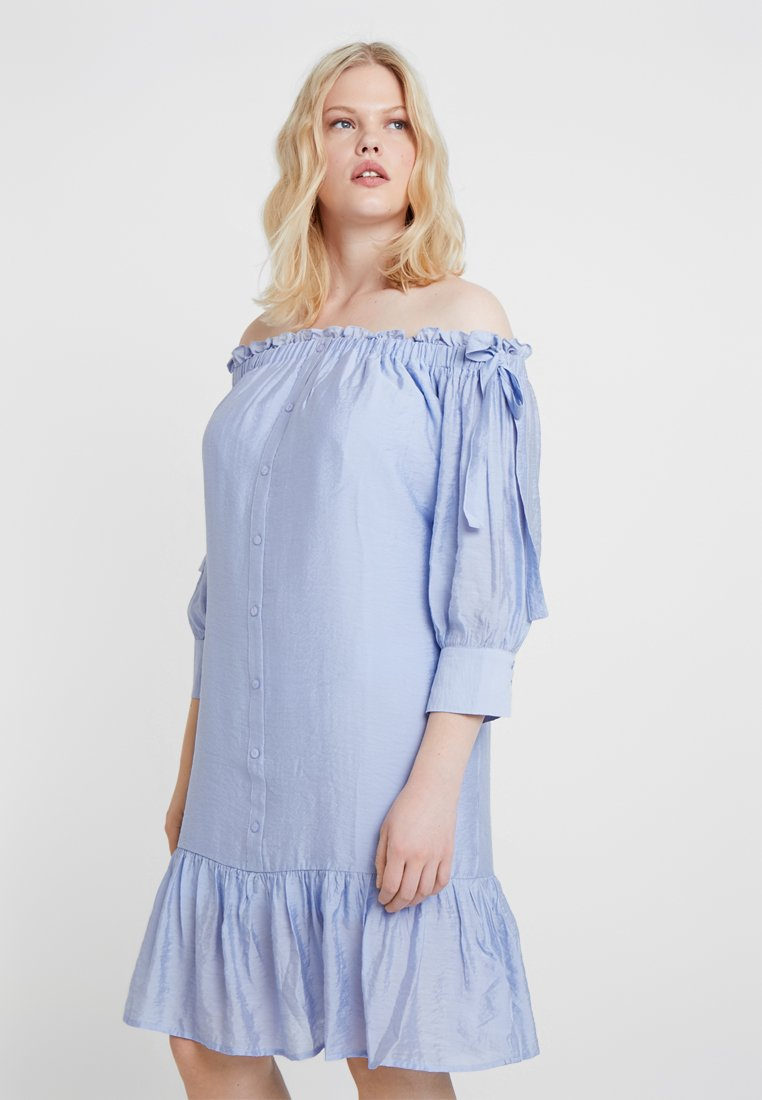 Lost Ink Plus - BARDOT DRESS WITH BUTTON FRONT - Day dress - blue