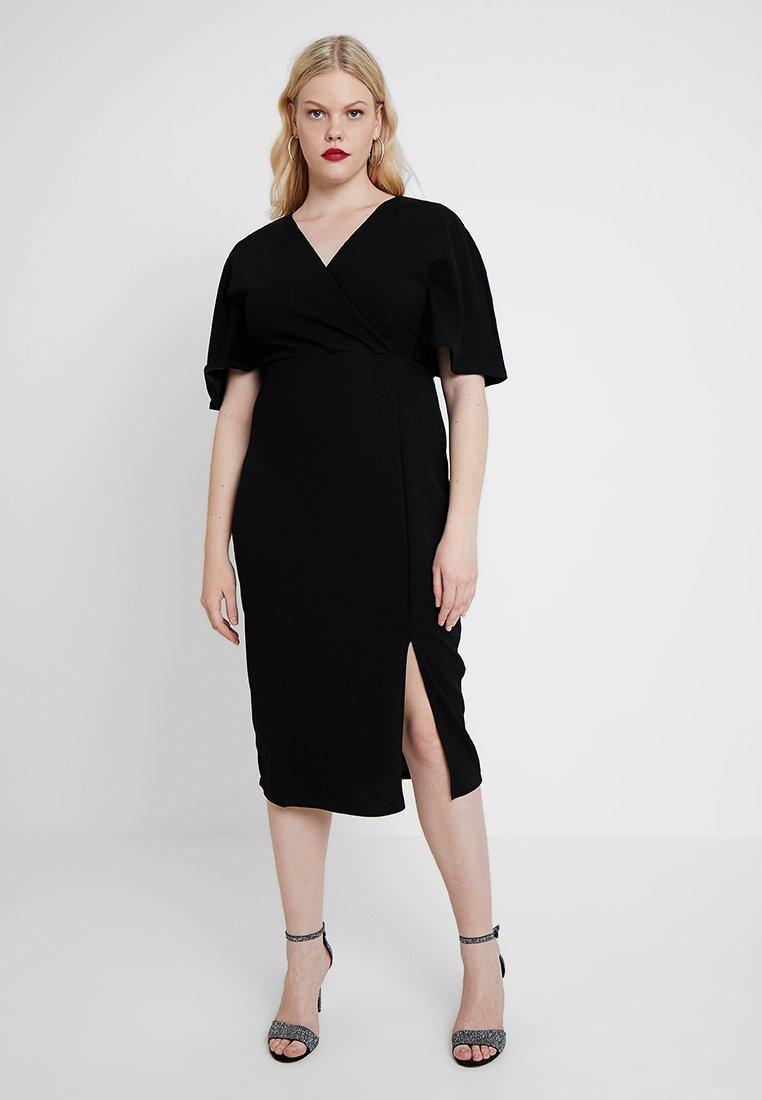 Lost Ink Plus - WRAP DRESS WITH CAPE - Etuikleid - black