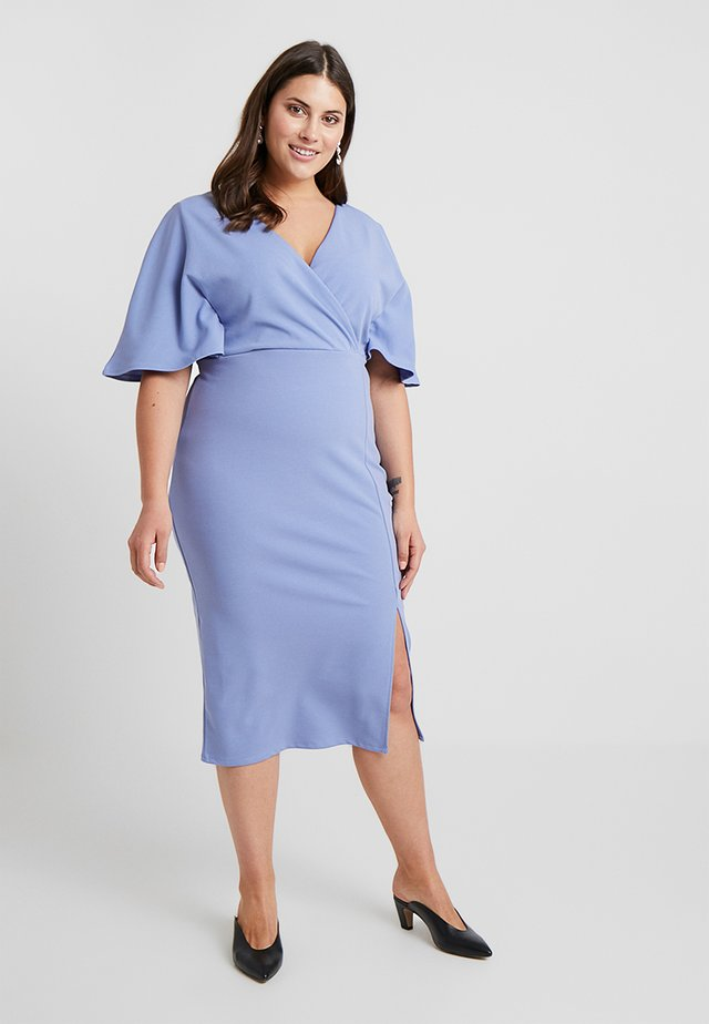 WRAP DRESS WITH CAPE - Jersey dress - blue
