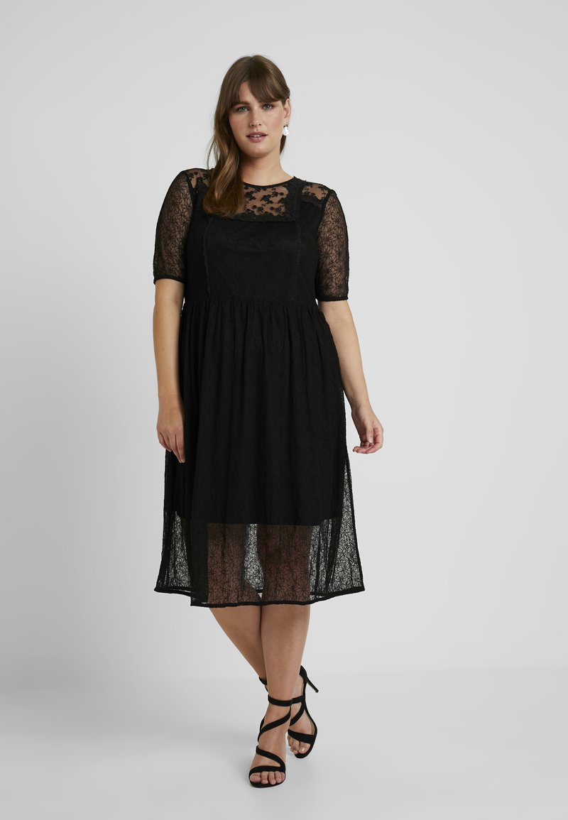 Lost Ink Plus - FIT AND FLARE DRESS - Maxi dress - black