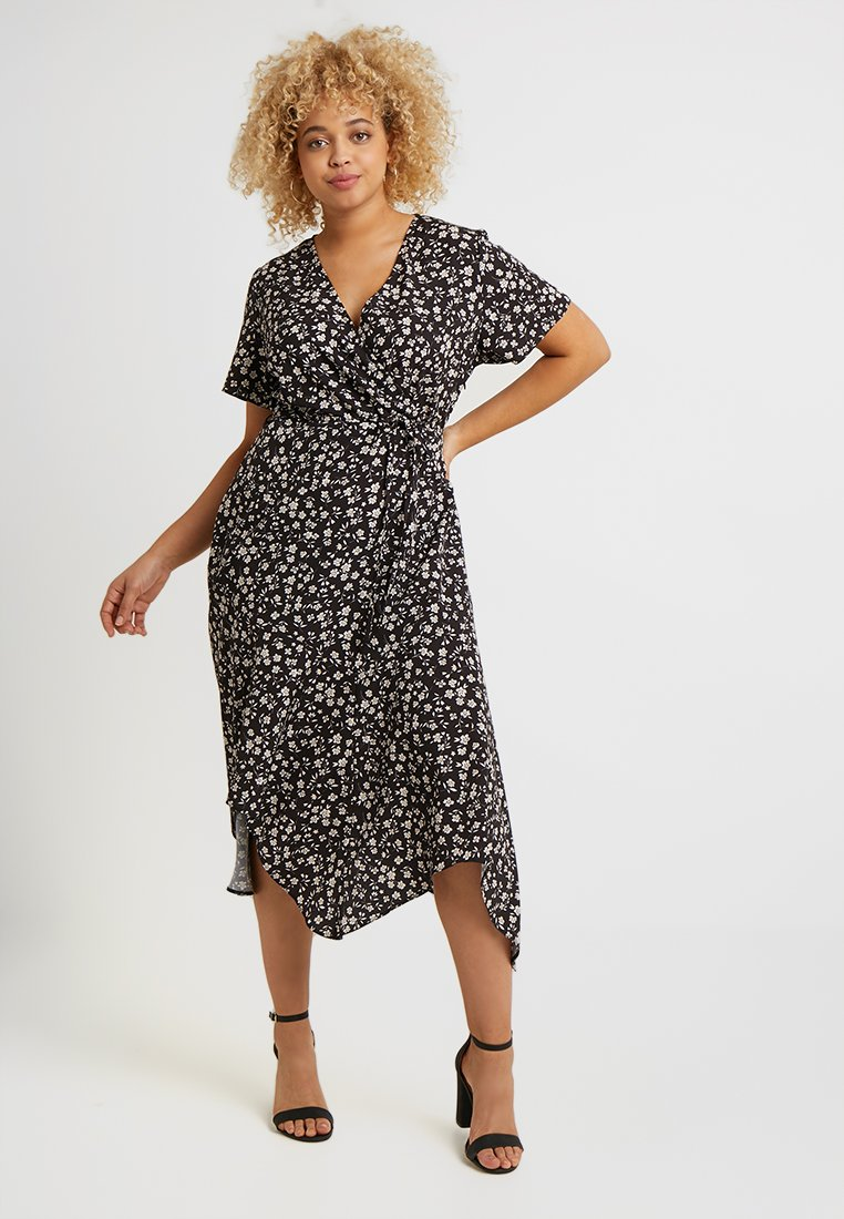 Lost Ink Plus - WRAP DRESS IN MONO FLORAL - Maxikjoler - black