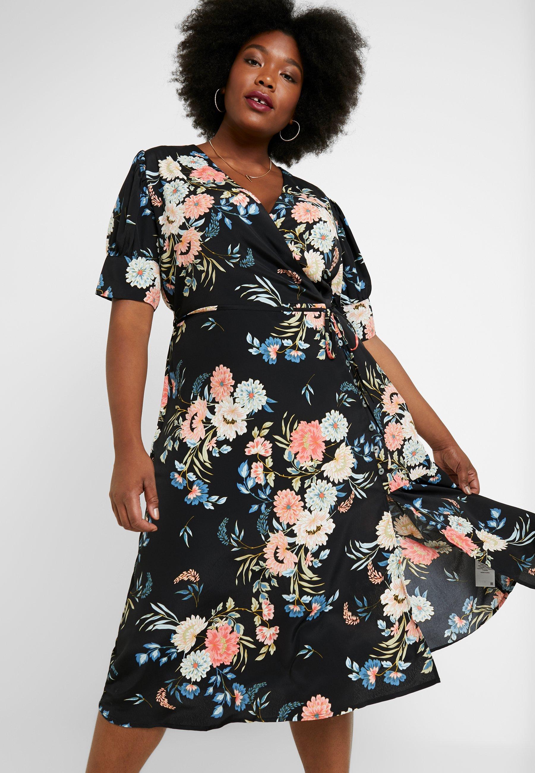 Lost Ink Plus WRAP DRESS IN ORIENTAL FLORAL - Sukienka letnia - multi/black