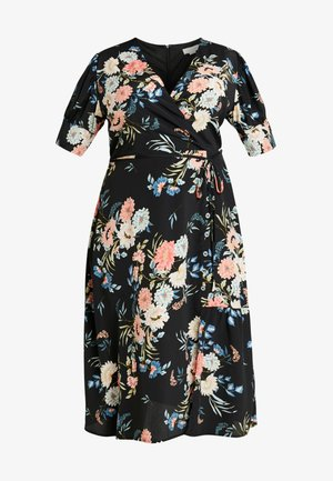 WRAP DRESS IN ORIENTAL FLORAL - Day dress - multi/black