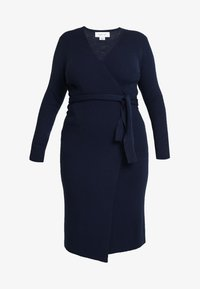Lost Ink Plus - LONGERLINE BALLET WRAP DRESS - Abito in maglia - dark blue - 4
