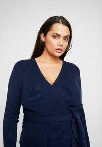Lost Ink Plus - LONGERLINE BALLET WRAP DRESS - Abito in maglia - dark blue - 3