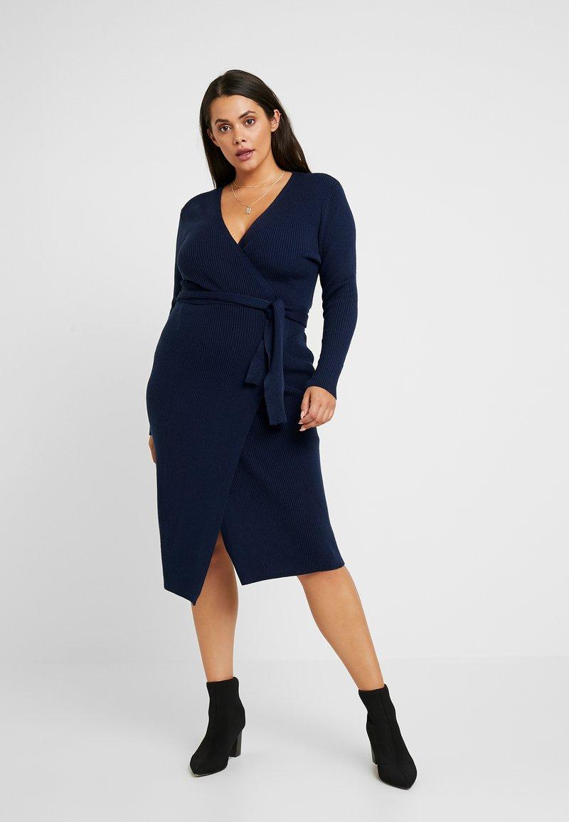 Lost Ink Plus - LONGERLINE BALLET WRAP DRESS - Abito in maglia - dark blue